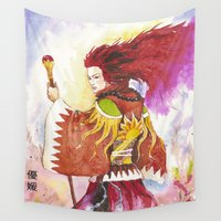 "wizard Wall Tapestries featuring Red wizard by Barbara ""Yuhime"" Wyrowińska"