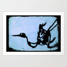Bird on Blue Art Print