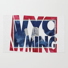 Wyoming Typographic Flag Map Art Rug