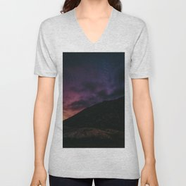 Night sky #stars #mountains Unisex V-Neck