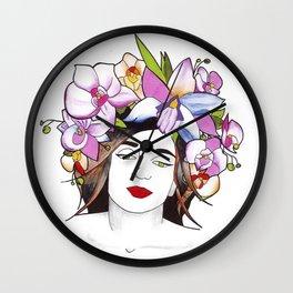 Woman in flowers II Wall Clock