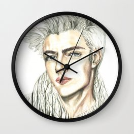 Double Exposure man portrait / Lucky Blue Smith Wall Clock
