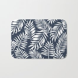 Tropical Palm Leaves - Navy Blue Bath Mat