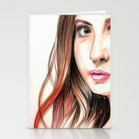 karen hallion Stationery Cards featuring Karen Gillian Drawing by annelise johnson