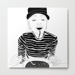 The lady eats the right food Metal Print