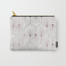 Hexagonal Leaves of Rose Gold on White Marble Carry-All Pouch