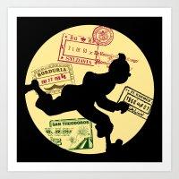 tintin Art Prints featuring Run Tintin, Run by ikado