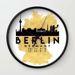 BERLIN GERMANY SILHOUETTE SKYLINE MAP ART Wall Clock