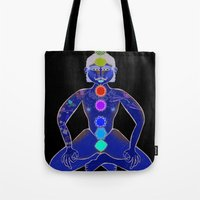 yoga Tote Bags featuring YOGA by Gianluca Floris