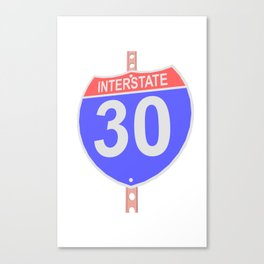 Interstate highway 30 road sign Canvas Print