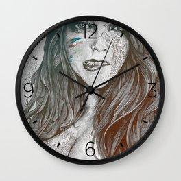 U-Turn: Rainbow (mandala tattooed woman, drawing portrait) Wall Clock