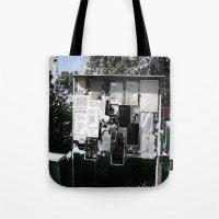 newspaper Tote Bags featuring Village Newspaper by kromovidjojo