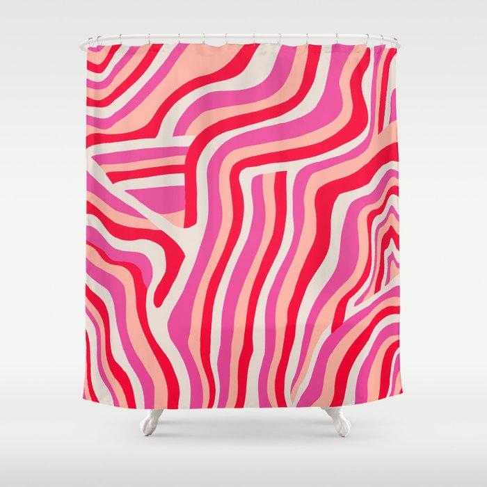 pink zebra stripes Shower Curtain