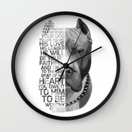 Pit Bull Print, Pit Bull Quote, Pit Bull Gift, Text Dog Portrait, Dog Art, Dog Quotes Print, Text Do Wall Clock