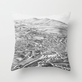 Ticonderoga, NY Map 1891 Throw Pillow