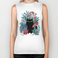 hawaiian Biker Tanks featuring Popoki by littleclyde