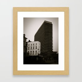 Surrealist City in Black and White Framed Art Print