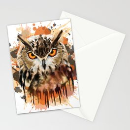 Stylized owl portrait Stationery Cards