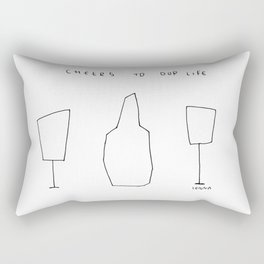 Cheers To Our Life - wine champagne glasses illustration Rectangular Pillow