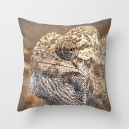 Chameleon With Sinister Facial Expression Throw Pillow