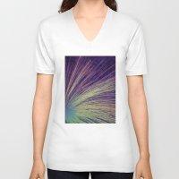fireworks V-neck T-shirts featuring Fireworks by Françoise Reina