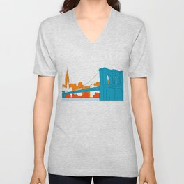 Brooklyn Bridge Vector Unisex V-Neck