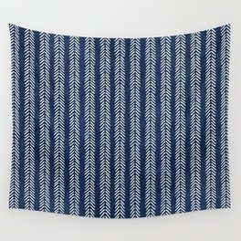 Mud cloth - Navy Arrowheads Wall Tapestry