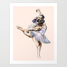 Pug Ballerina in Dog Ballet | Swan Lake  Art Print