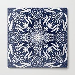 Indigo Blue Botanical Folk Tile Metal Print