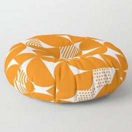 Orange Mid Century Bauhaus Semi Circle Pattern Floor Pillow