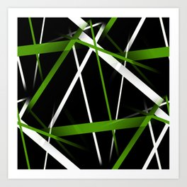 Seamless Grass Green and White Stripes on A Black Background Art Print