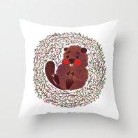 beaver Throw Pillows featuring Baby Beaver by haidishabrina