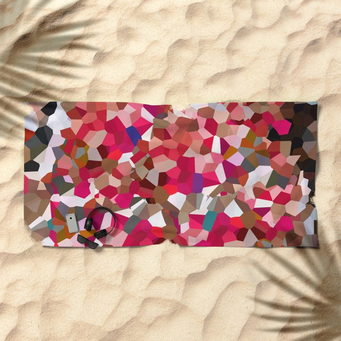 Ruby Red Heart Moon Love Beach Towel