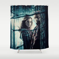 hermione Shower Curtains featuring H. Potter - Hermione & Ron by Juniper Vinetree