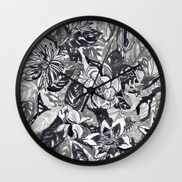Silver and black floral Wall Clock