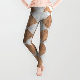 Cubic Wood & White Marble #892 Leggings