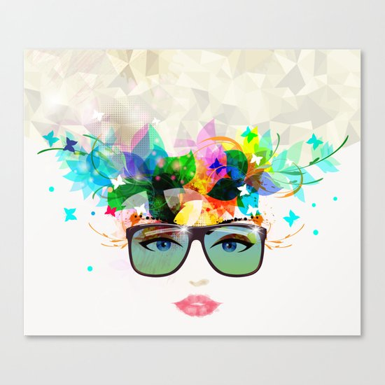 Woman face with sunglasses Canvas Print