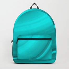 Hot voluminous aquamarine curved lines with delicate outlines of ceramic semicircles. Backpack