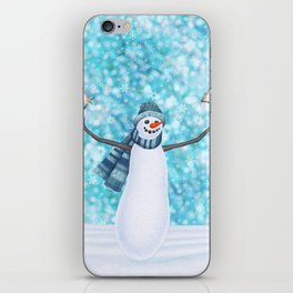 snowman and tufted titmouse flock iPhone Skin