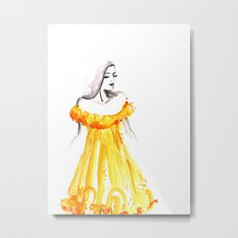 Fashion illustration yellow off shoulder dress Metal Print