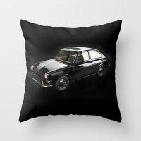volkswagen Throw Pillows featuring Volkswagen 1600TL by AstroCat