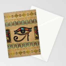 Egyptian Eye of Horus Ornament on papyrus Stationery Cards