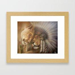 A Lion Love Story Framed Art Print