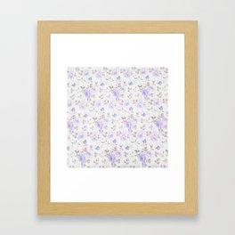Lavender gray elegant vintage roses floral Framed Art Print