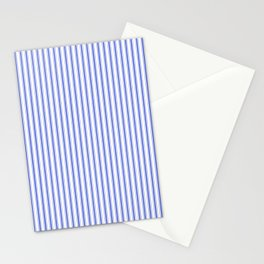 Small Vertical Cobalt Blue and White French Mattress Ticking Stripes Stationery Cards