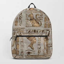 Egyptian hieroglyphs and deities -Vintage Gold Backpack