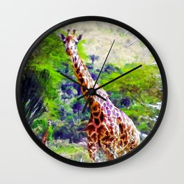African Giraffe - Wondering Through Africa Wall Clock