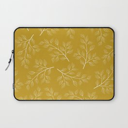 White Branch and Leaves on Mustard Yellow Laptop Sleeve