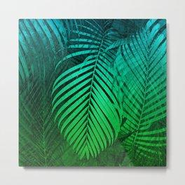 TROPICAL GREEN BLUE LEAVES Metal Print