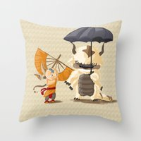 appa Throw Pillows featuring Cross over Ghibli Appa  by Minette Wasserman